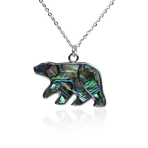 Barch Blue Abalone Paua Shell Polar Bear Pendant Necklace Silver with Wax Cord/Stainless Steel Chain (Big Polar Bear) by Barch Young (Image #1)