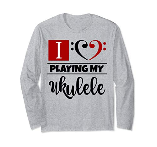 Double Black Red Bass Clef Heart I Love Playing My Ukulele Long-Sleeve T-Shirt