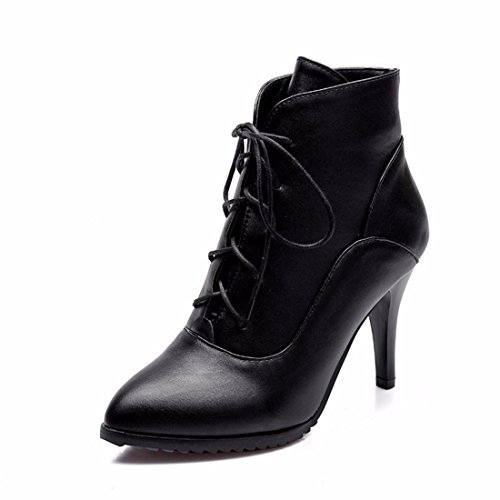 Terry short big pointed heeled shoes and female boots high tie Europe boots America size Martin heel Black PxaqwW0R