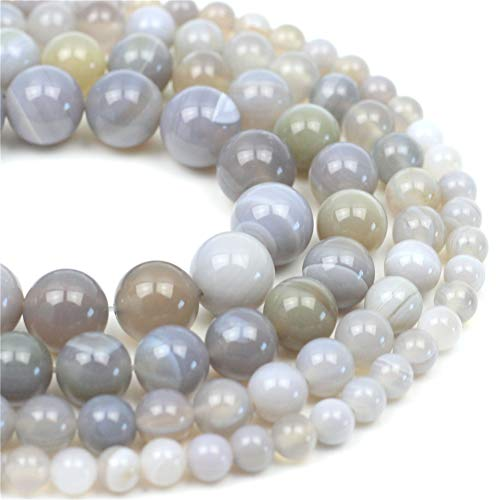 """Oameusa Natural Round Smooth 10mm Gray Striped Agate Beads Gemstone Loose Beads Agate Beads for Jewelry Making 15"""" 1 Strand per Bag-Wholesale"""
