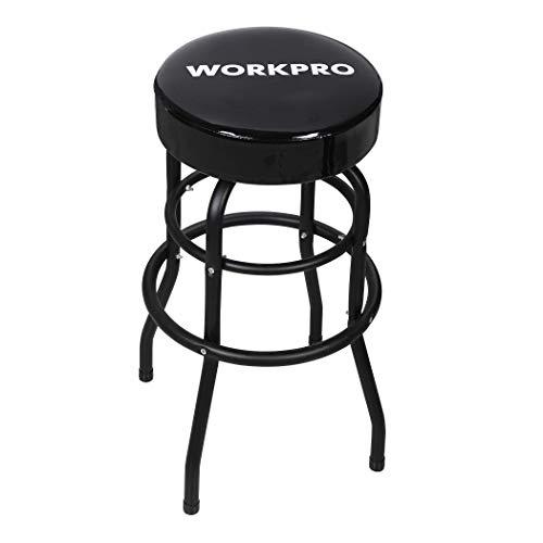 Double Ring Bar Stool - WORKPRO Bar Stool, Padded Swivel Shop Seat, Black, W112012A