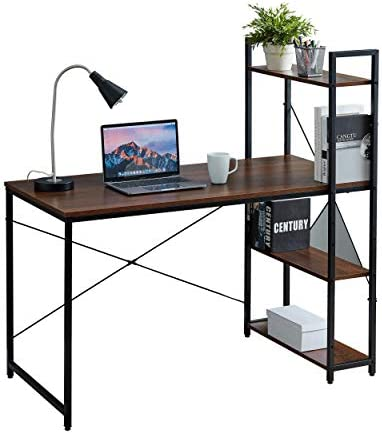 Desk with 3 Tier On Top Below Desk Shelving Home Office Computer Desk Metal Wood Industrial Style 3 Shelf Modern Desk Shelving