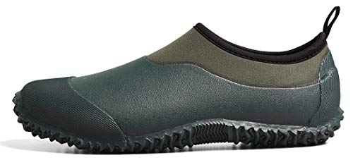 Tengta Unisex Waterproof Garden Shoes Womens Rain Boots Mens Car Wash Footwear Dark Green, 12 M US WOMEN / 10.5 M US MEN