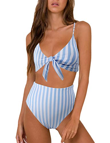 - Blooming Jelly Womens High Waisted Bikini Set Tie Knot High Rise Two Piece Swimsuits Bathing Suits (x-Large, Blue White Striped)