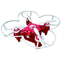 Qwinout FQ777-124+ New Pocket Drone with large LED Light FQ777 124 Upgraded 4CH 6-Axle Gyro Headless Mode One Key Return Switchable Controller Mini Quadcopter RTF (Red)