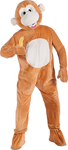 [UHC Unisex Monkey Plush Mascot Jumpsuit Funny Theme Adult Halloween Costume, OS] (Boots The Monkey Costume For Adults)