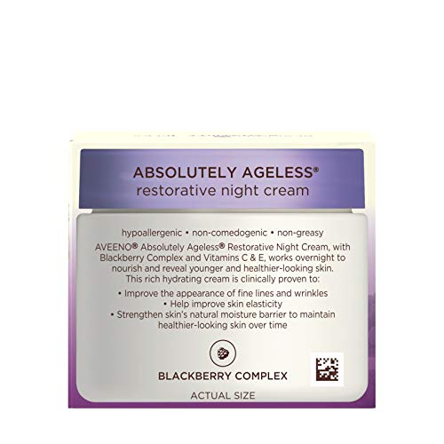 41U1I4nJiUL - Aveeno Absolutely Ageless Restorative Night Cream Facial Moisturizer with Antioxidant-Rich Blackberry Complex, Vitamin C & E, Hypoallergenic, Non-Greasy & Non-Comedogenic, 1.7 fl. oz