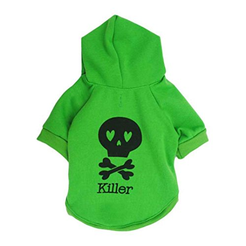 Outtop Pet Clothes, Small Dogs Hoodie Coat Shirt Apparel Costume Accessory for Dog Dachshun Chihuahuad [KILLER] (XS, Green)