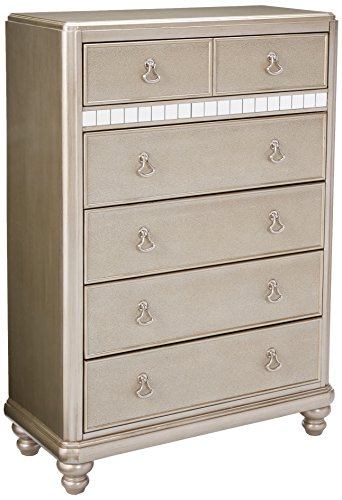 Coaster Home Furnishings Bling Game 6-Drawer Chest with Stacked Bun Feet Metallic Platinum