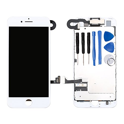 Ayake White Screen Replacement for iPhone 7 4.7 - Full LCD Digitizer Display Assembly with Front Facing Camera, Earpiece Speaker Pre Assembled and Repair Tool Kits