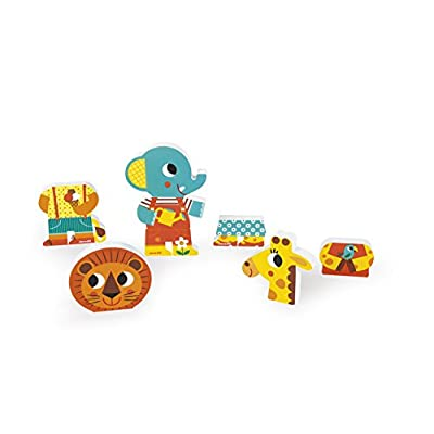Janod J08030 3 Funny Magnetic Wooden Characters, Zoo: Toys & Games