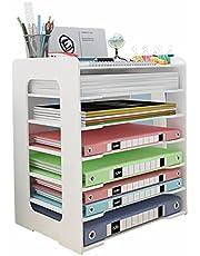 Taca na biurko z organizerem na dokumenty, 6 poziomów przegródek do przechowywania, sortownik papieru do układania w stosy, uchwyt na biurko, dla Home Office School