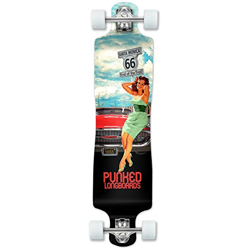 (Yocaher Punked Route 66 Series RTE 66 Longboard Complete Skateboard - Available in All Shapes (Lowrider) )