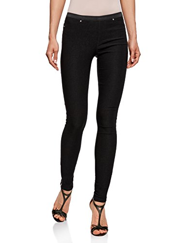 oodji Ultra Mujer Pantalones Stretch con Elástico Negro (2900N)