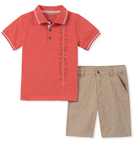 Calvin Klein Boys' Little 2 Pieces Polo Shorts Set, Peach, 5