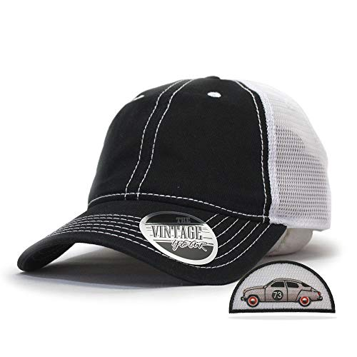 Vintage Year Washed Cotton Low Profile Mesh Adjustable Trucker Baseball Cap (Black/Black/White)