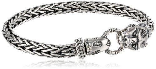 "Sterling Silver Lion Foxtail Chain Bracelet, 7.75"""