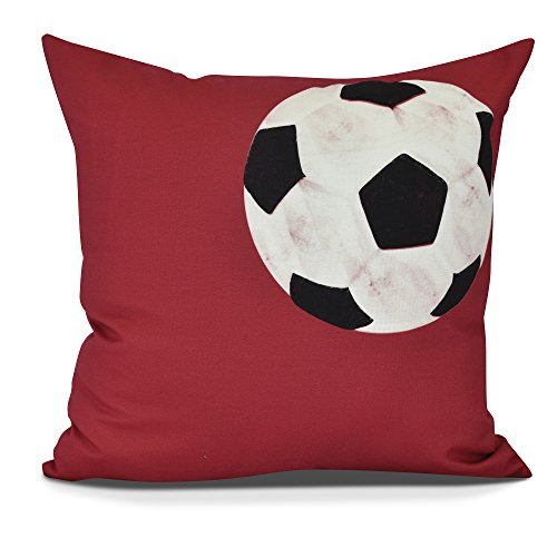 E by design PG880RE10-20 Soccer Ball Decorative Geometric Throw Pillow, 20'', Red by E by design