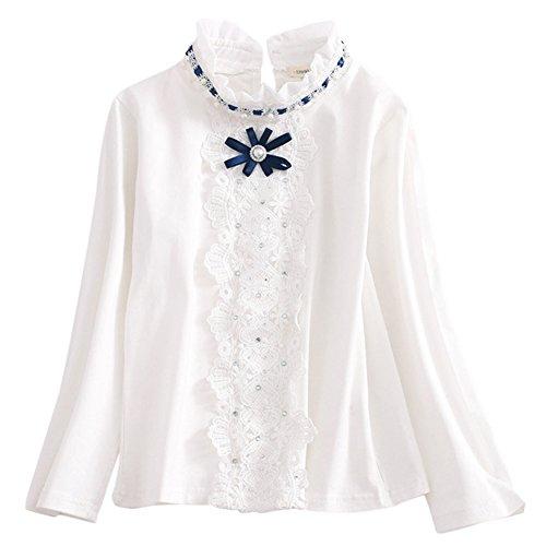 ASHERANGEL Toddler Girls Long Sleeve Lace Collar Blouse Base Shirt White