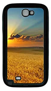 Samsung Galaxy Note II N7100 Case,Golden summer field TPU Custom Samsung Galaxy Note II N7100 Case Cover Black
