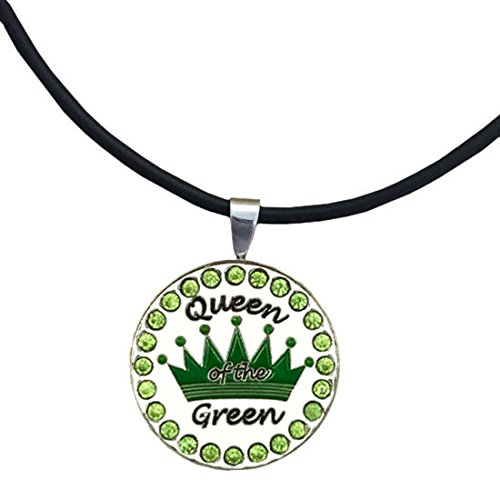 Giggle Golf Bling Green Queen Of The Green Magnetic Ball Marker Necklace Diva Golf Stand Bag