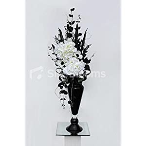 Tall Vase Display w/ White Hydrangea, Anemones & Black Foliage 83