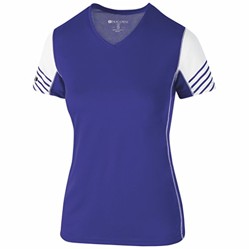 - Holloway Dry Excel Ladies Arc Shirt (X-Large, Purple/White)