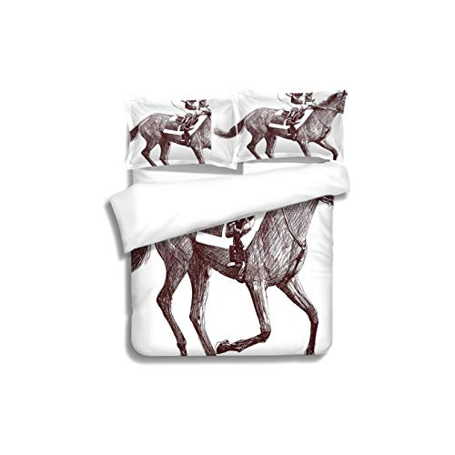 Family bed Horse Decor Sketchy Illustration of Racing Horse and Jockey Equestrian Sports Theme Art Decorative 3 Piece Bedding Set with Pillow Shams, Queen/Full, Dark Orange White Teal Coral -