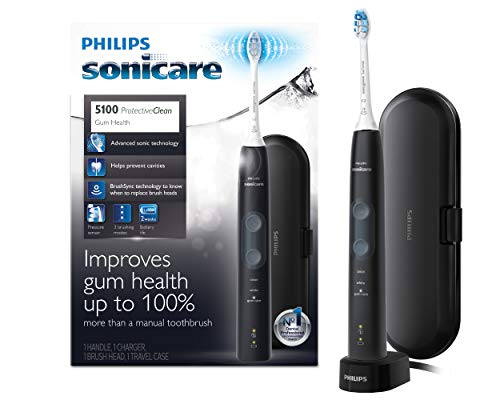 - Philips Sonicare ProtectiveClean 5100 Electric Rechargeable Toothbrush, Gum Health, Black