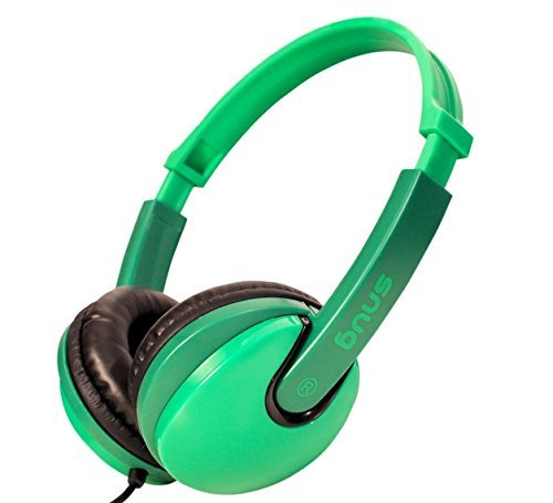 Snug Plug n Play Kids Headphones for Children DJ Style (Green)
