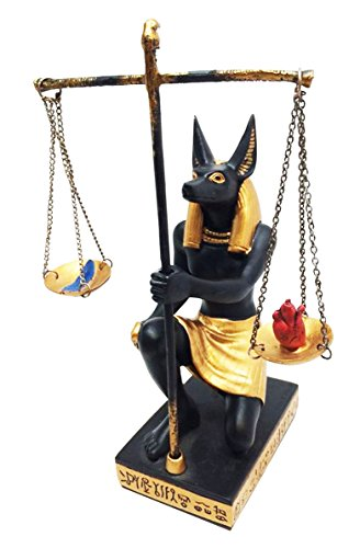EGYPTIAN DEITY ANUBIS JACKAL SCALES OF JUSTICE WEIGHING HEART & FEATHER (Egyptian Jackal Statue)