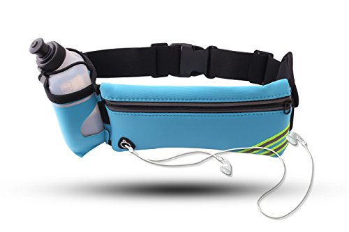 Running Belt Multifunctional Zipper Pockets Water Resistant, with 1 Water Bottle Waist Pack for Running Hiking Cycling Climbing Camping Travel .And for iPhone, iPod, Samsung and Other Smartphones Review