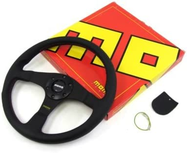 Momo Steering Wheel Tuner 350mm Black Leather Horn Button Red Stitch