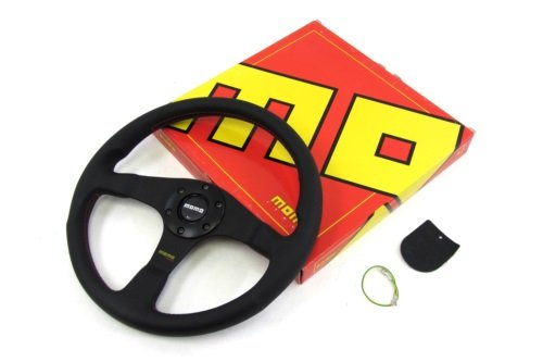 Momo Steering Wheel Tuner 350mm Black Leather Horn Button Red Stitch (Momo Style Steering Wheel)