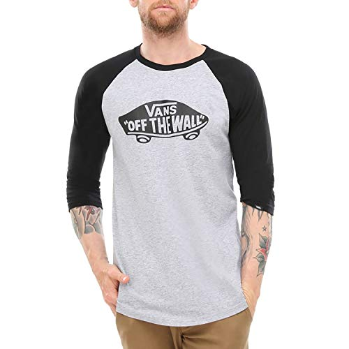 athletic Uomo Heather Shirt black Raglan Sport Vans Atj Grigio Otw FTqBYY