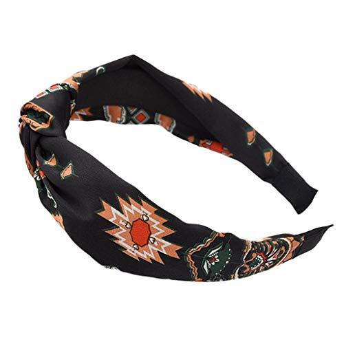 ABCOnline Boho Headbands for Women Girls Flower Printed Criss Cross Elastic Hair Band Twisted Cute Yoga Beach Head Wrap ()