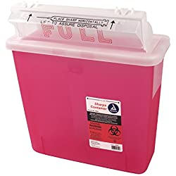 Dynarex D4624 Sharps Container, Mailbox Lid, 5 quart (Pack of 20)