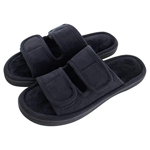 Lasiper Womens Slippers, Adjustable Open Toe Memory Foam Summer House Slippers for Orthopedic Diabetic Arthritis Edema Flat Swollen, Washable Non Slip House Shoes Indoor and Outdoor
