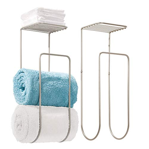 mDesign Modern Metal Wall Mount Towel Rack Holder and Organi