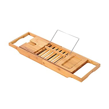 HOMCOM 834-019 Adjustable Bamboo Bathtub Caddy