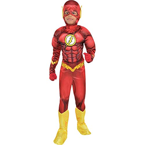 Costumes USA DC Comics: The New 52 The Flash Muscle Costume for Boys, Size Medium, Includes a Padded Jumpsuit and a Mask]()