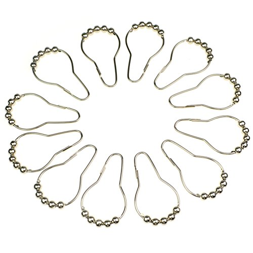 12pcs Curtain Rings Stainless Steel Polished Chrome Roller Shower Curtain Rings Hooks