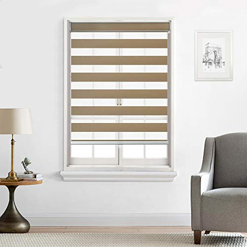Everyday Celebration [Upgraded] Cordless Zebra Shades, Free-Stop Light Filtering Zebra Roller Blinds (35″ W x 72″ L, Sand)