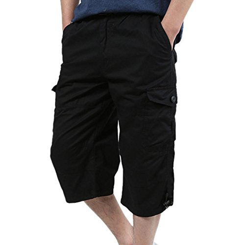 (AMSKY Men's Loose Trouser, Baggy Pants Casual Loose Active Stretch Cropped Pants Overalls (2XL, Black) )