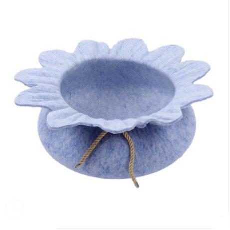 SL&ZX Felt cat litter,Four seasons universal washable pet kennel cute kennel daisy nest lotus nest-Blue 40x14cm(16x6inch)
