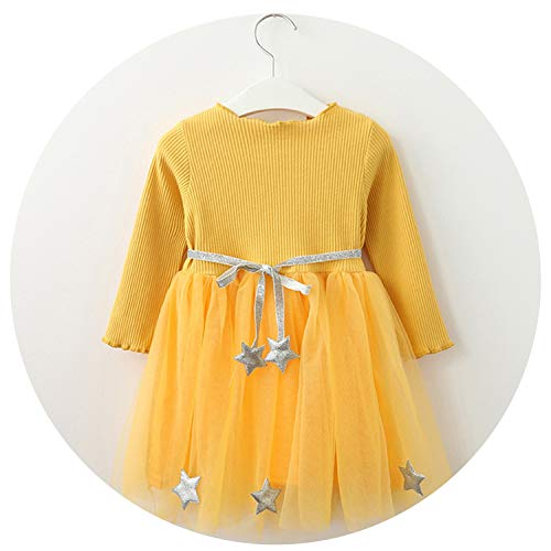 Girls Dress Pentagram Princess Dress Girls Children European and American Style Girls Dresses,Yellow -Az1490,2T
