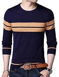 Men's Casual Slim Fit Crew Neck Stripe Pullover Sweater