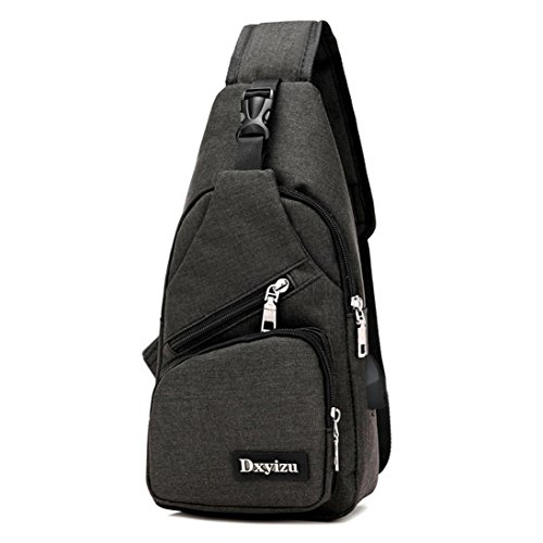 Mysky USB Outdoor Sports Casual Canvas Unbalance Backpack Crossbody Sling Shoulder Bag (Black) from My*sky Bags