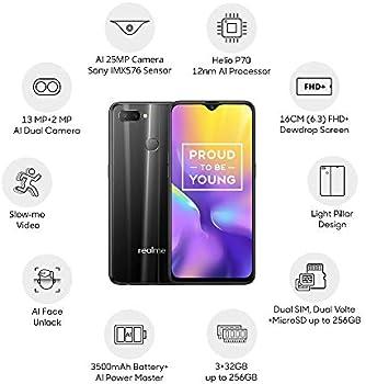Realme U1 (Ambitious Black, 3GB RAM, 32GB Storage)