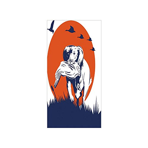 Decorative Privacy Window Film/Cocker Spaniel Gun Dog Retrieving Pheasant Flying Ducks at Sunset/No-Glue Self Static Cling for Home Bedroom Bathroom Kitchen Office Decor Dark Blue Orange White